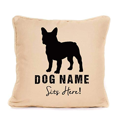 Personalised 'French Bulldog Sits Here' Print Throw Pillow Cushion Cover| Best Present Ideas For Dog Lover Or Any French Bulldog owner | Perfect Gift for Christmas, Birthdays |18 x18 inch |