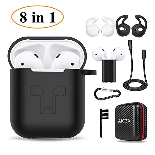 Airpod case, AirPods 2 & 1 Accessories Set for AirPods Charging Case, Airpods Strap/Airpods Ear Hooks/Holder/Keychain/Carrying Box(Black)