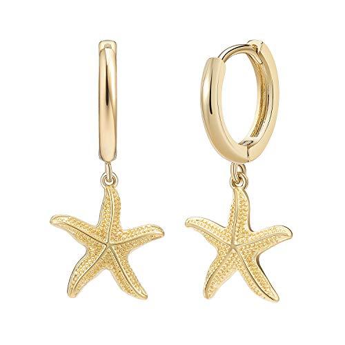Starfish Dangle Hoop Earrings for Women Girls 14K Gold Plated Cubic Zirconia Drop Pendant Earrings for Her
