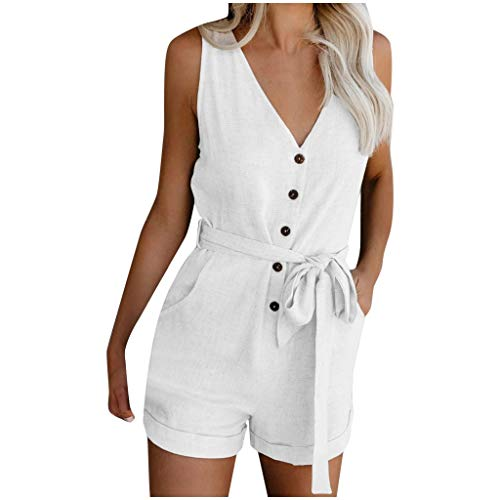 Best Buy! Toimothcn Womens Office Work Rompers Casual V Neck Bow Tie Sleeveless Shorts Jumpsuits Rom...