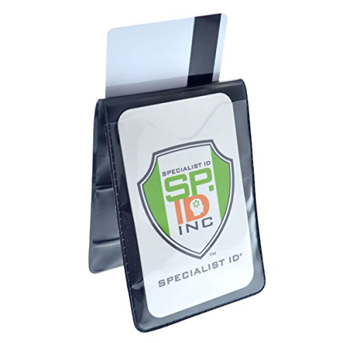 5 Pack - Heavy Duty Magnetic Badge Holders - Fold Over Shirt Pocket or Belt- Two Sided for Multiple ID Cards - Perfect for 2 Vertical I.D. Badges by Specialist ID