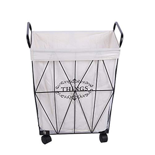 QWER ijzeren vuile kleding mand metalen opslag riem wiel badkamer vat industriële milieuvriendelijke kleding wasmand