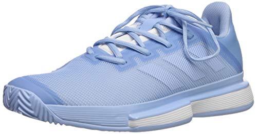 adidas Women's SoleMatch Bounce Tennis Shoe, Glow Blue/Glow Blue/White, 8 M US
