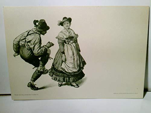 Paul Knäbchen in Zöblitz. Künstler Litho / AK s/w. Verlag Gerlach & Schenk in Wien No 27. Tanzendes Paar in Tracht, ca 1900 ungel. Brauchtum, Trachten, Tanz, Kunst
