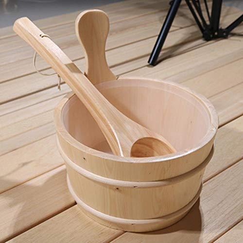 Feileng Premium Wooden Bucket and Ladle Kit Specifically for Sauna, Sauna Accessories for SPA/Turkish Bath/Sauna Steaming, 1 Gal Water Barrel advantageous
