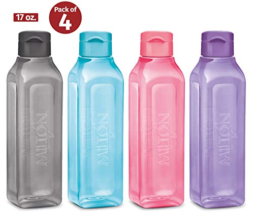 Large Water Bottle 4 Set Sports Water Bottles for Kids Adults Reusable Water Bottle Plastic Wide-Mouth BPA Free Leak-Free Lightweight Drink Bottle with Carry Strap Hiking Gym Bike Travel MILTON 32 oz