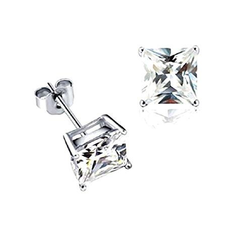 Akki Schmuck 925 Silber Ohrringe Männer Damen Herren Ohrstecker mm Quadrat Stein viereckige Ohrringe Ronaldo Style 10mm