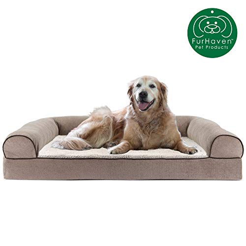 FurHaven Pet Dog Bed | Cooling Gel Memory Foam Orthopedic Faux Fleece & Chenille Soft Woven Sofa-Style Couch Pet Bed for Dogs & Cats, Cream, Jumbo