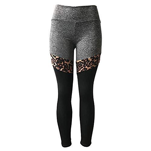 Mujer Feeling Leggings Deportivas,Leggings con estampado de leopardo para mujer, Legging de entrenamiento push up con patchwork, Pantalones de yoga elásticos de cintura alta-Grey_L,Aeróbico Pilates Fi
