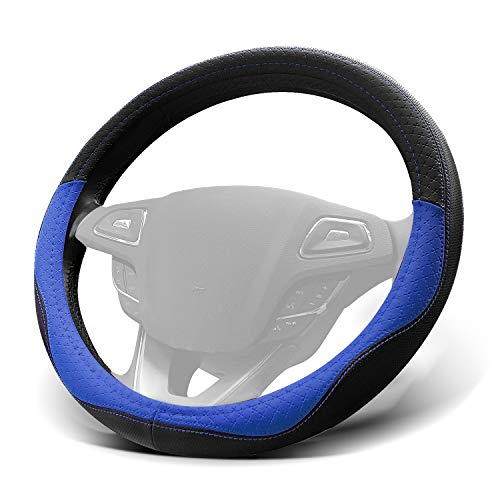 WinPower Car Steering Wheel Cover Microfiber Leather Universal 15 inch for Car Truck SUV,Blue
