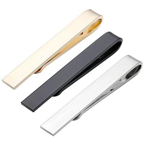 PiercingJ 3er Herren Dünn Skinny Krawattennadel Krawattenklammer Set Business Hochzeit Tie Clip Set Für Schmale Krawatte aus Edelstahl, Silber/Gold/schwarz(Size: ca.42 * 5mm)