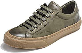 JAUROUXIYUJI Men's Leather Shoes Casual Versatile Genuine Flat Bottom Shoes Dirty Shoes (Color : Army Green, Size : 42 EU)