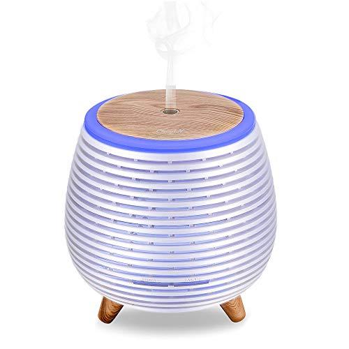 Ckeyin Humidificador Electrico,Humidificador Aceites Esenciales,Silencio, Lámpara de 7 Colores, 2 Modos de Pulverización, Apagado Automático, Hogar, Dormitorio, Decoración de Interiores-Blanco…