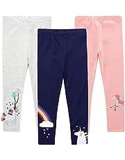 EmaoFun Leggings para Niñas Chicas Estampado, Stretch Pantalón para 2-7 Años(3 Pack)