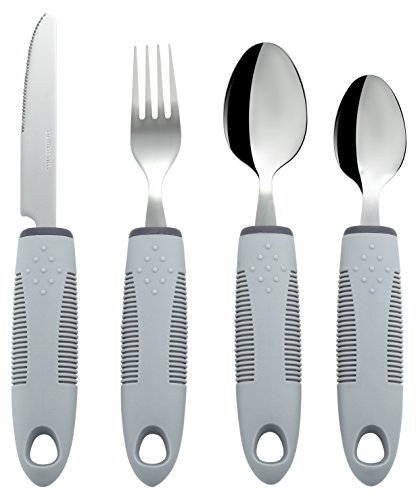 Special Supplies Adaptive Utensils (4-Piece Kitchen Set) Wide, Non-Weighted, Non-Slip Handles for Hand Tremors, Arthritis, Parkinson's or Elderly Use - Stainless Steel Knife, Fork, Spoons - Grey