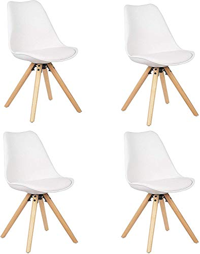 WV LeisureMaster Silla Nórdica (Pack 4) - Silla Scandi Blanca - Silla Nordic Escandinava - Topic - (Elige tu Color)