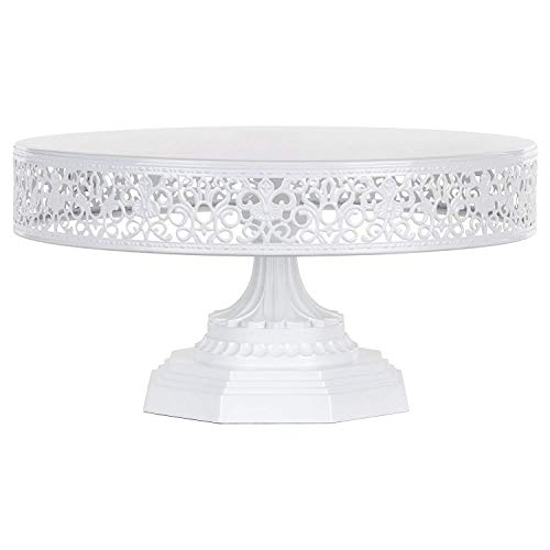 Amalfi Decor 12 Inch Cake Stand, Dessert Cupcake Pastry Candy Display Plate for Wedding Event Birthday Party, Round Metal Pedestal Holder, White