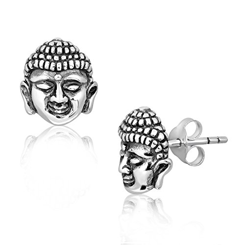 WithLoveSilver Soild Sterling Silver 925 Buddha Face Stud Earrings