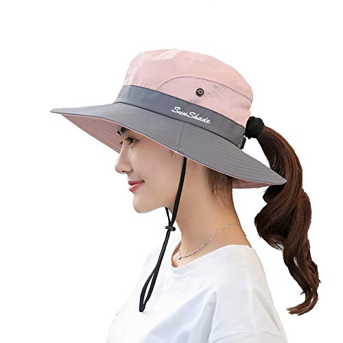 Womens UV Protection Wide Brim Sun Hats - Cooling Mesh Ponytail Hole Cap Foldable Travel Outdoor Fishing Hat Pink