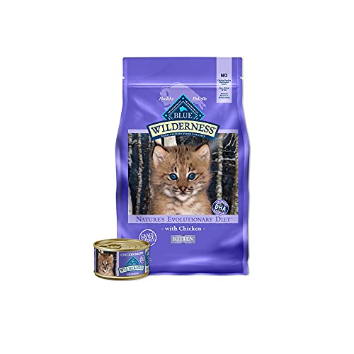 Blue Buffalo Wilderness High Protein, Natural Grain Free Kitten Food Bundle, Dry Cat Food and Wet Cat Food, Chicken (5-lb Dry Food + 3oz cans 24ct)