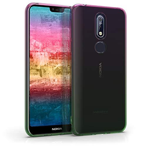 Preisvergleich Produktbild kwmobile Hülle kompatibel mit Nokia 7.1 (2018) - Handyhülle - Handy Case Zwei Farben Pink Grün Transparent