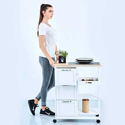 Küchenwagen auf Rollen, Servierwagen mit 3 Schubladen und 3 Ebenen, Arbeitsplatte aus Holz, Rollwagen 67x37x84 cm, Küchentrolley im Landhausstil, Weiß