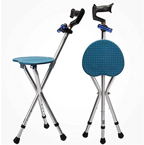 LLKK Taburete de bastón plegable, asiento de altura ajustable, plegable de acero inoxidable, con soporte plegable para muletas de 73 a 82 cm, taburete de muletas para ancianos