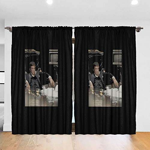 Kelo Scarface+Sitback Images Blackout Window Curtains Thermal Insulated Room Darkening Drape for Bedroom Living Room 52 X 72 Inch