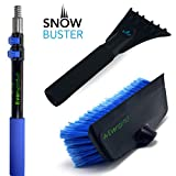 EVERSPROUT SnowBuster 1.5-to-4 Foot Extendable Ice Scraper & Snow Brush Kit (Scraper, Brush, Pole)   8-10 Ft Standing Reach   Long Extension Handle for SUV/Truck/Car Windshield, Windows, Roof
