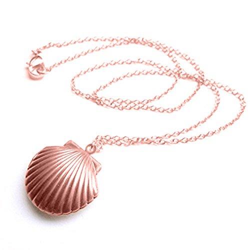Adecco LLC Sea Shell Locket, Mermaid Valentine Necklace, Beach Locket, Gold Tone Brass, Little Shell Locket, Nautical Jewelry (Rose gold)