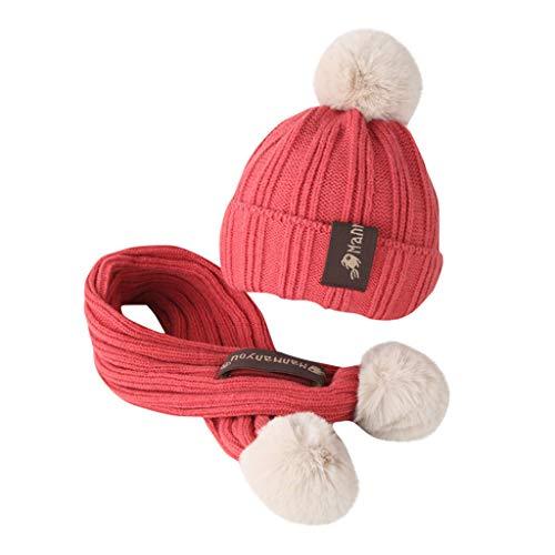 PRETTYEST Mützen Mütze Handschuhe Schal Set 2 in 1 Kinder Schal Mütze Handschuhe Plüsch Tiermuster Warme Herbst Winter Slouch Beanie