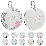 Uiopa 2Pzs Chapa Perro Grabada, Huella Placa Perro Grabada Placas Identificativas Chapas Personalizadas Placas para Perros, Etiquetas de Identificación de Mascotas para Perros Gatos Collar (Rosa)
