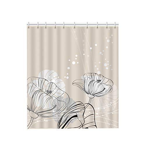 ERBI - Schadstofffreier Duschvorhang 180x200 mit Perl-Effekt & rostfreien Metall-Ösen - inkl. Haken - Duschvorhänge mit Unique Design (180 x 200 cm, e) Blume beige
