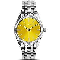 Reloj Pura Alegría - Silver Sun - Analógico Mujer Cromado con Esfera Amarilla y Cadena de Acero
