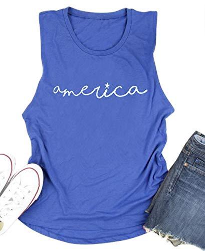 CHUNTIANRAN America Graphic Muscle Tank Tops Womens Funny July 4th Sleeveless T Shirt Teen Girls Cute Running Workout Vest (Medium, Blue)