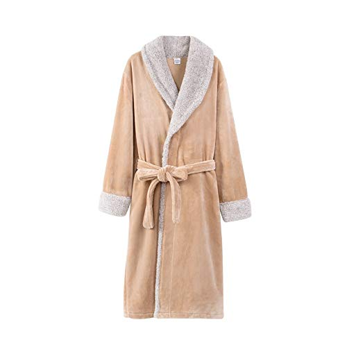 Unbekannt NAN Liang Winter Modelle Paar Nachthemd, 100% Baumwolle Pyjamas Bademantel weich und bequem Tasche EIN Gürtel M/L/XL/XXL/XXXL (Color : B, Size : XXXL)
