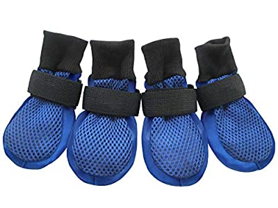 HiPaw Breathable Mesh Dog Boots for Hot Pavement Nonslip Rubber Sole Summer for Large Dog