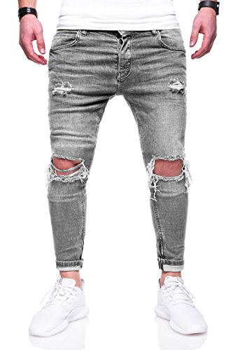 Rello & Rees Herren Destroyed Jeans Hose JN-3299 [Grau, W29/L32]