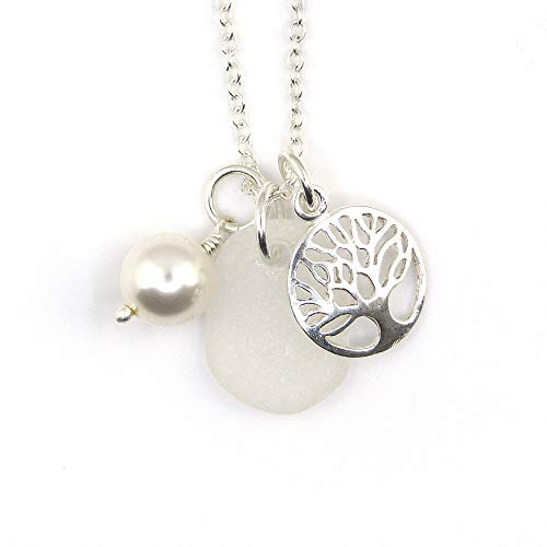 Sea Glass, Sterling Silver Tree of Life, Swarovski Crystal Pearl Necklace