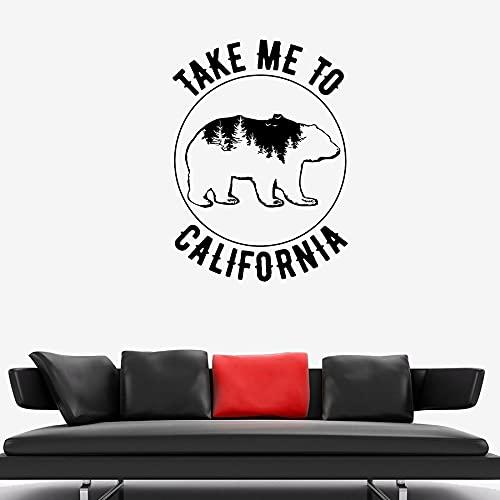 HGFDHG Calcomanías de Pared de Oso llévame a California Tour por el Bosque Natural Pegatinas de Vinilo para Ventanas Sala de Estar Dormitorio decoración del hogar Mural de Animales
