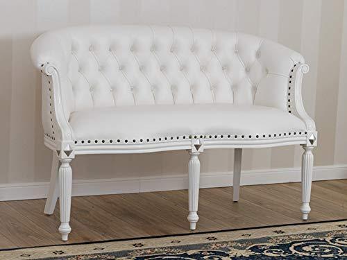 Simone Guarracino Divano Isabelle Stile Barocco Moderno 2 posti Bianco Laccato e Foglia Argento Ecopelle Bianca Bottoni Crystal SW