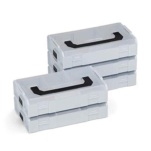 L-BOX Mini Set | 5x L BOXX Mini grau mit transparentem Deckel | Sortimentskasten Schrauben und Dübel | Erstklassige Sortierboxen für Kleinteile
