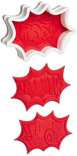 Tovolo Burst Reversible Templates Set of 6 Stamps, Comic Book Cookie Cutter, Dishwasher-Safe, Red