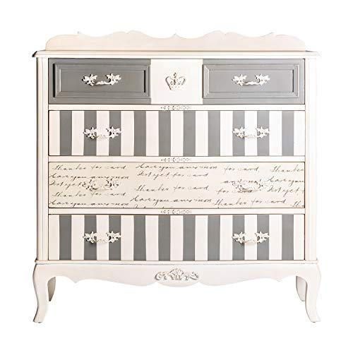 - Mueble Auxiliar - Cómoda Provence Plata 5 Cajones (100x40x102)
