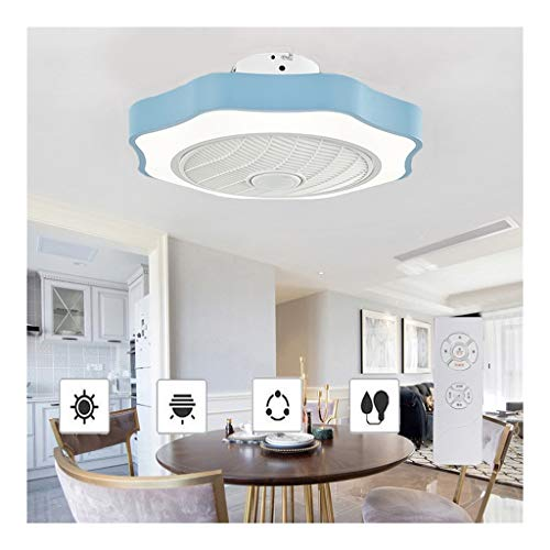 52cm Ronda Cool Plafondventilator met Lichten, 36w Hierro forjado Light Fan met Dimmer 3-kleuren Ceiling Fan Remote Control Indoor Kids Lighting (Color : Blue)