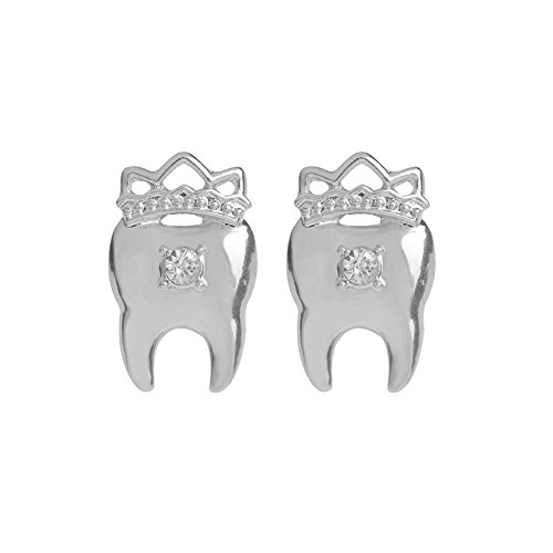 MANZHEN Jewelry Dentist Crystal Crown Tooth Stud Earrings Gifts (silver)
