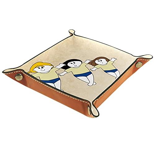 YATELI Caja de Almacenamiento pequeña, Bandeja de Valet para Hombre,3 Chicas una Mano en el Suelo,Organizador de Cuero para Llaves de Caja de Monedas