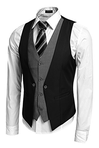 Coofandy Men's V-neck Sleeveless Slim Fit Jacket Business Suit Vests Black Medium