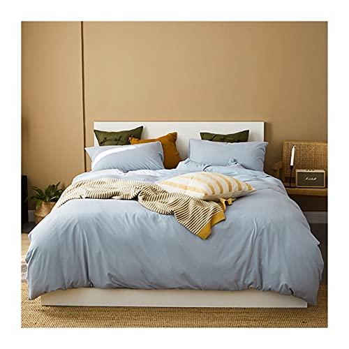 Jersey bomull Sängkläder Set 4-delat 220x240/200x230cm-påslakan 150/180x200cm-dra-på-lakan 48x74cmx2- örngott påslakanset Underkläderliknande komfort (Color : Blue A, Size : 220x240-180x200cm)