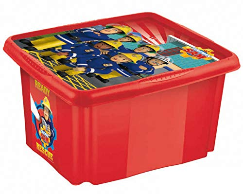 keeeper Caja de almacenamiento con tapa Bombero Sam, Giratoria y apilable, Para niños, 24 l, Paulina, Rojo cereza